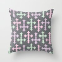 pastel goth Throw Pillows featuring Pastel Goth | Grey by Glitterati Grunge