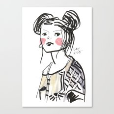 Gwen - Hipster Girl in Marker and Gouache Canvas Print