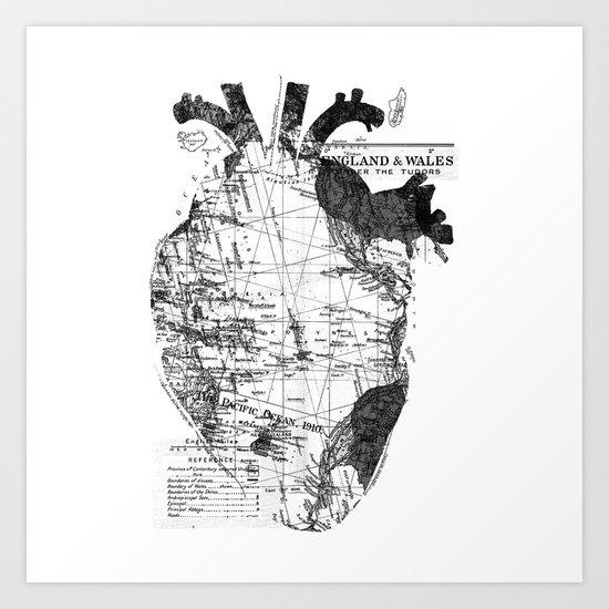 Heart Wanderlust Black and White Art Print