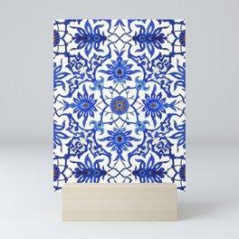 Art Nouveau Chinese Tile, Cobalt Blue & White Mini Art Print