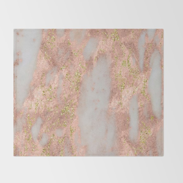 Rose Gold Marble With Yellow Gold Glitter Throw Blanket By