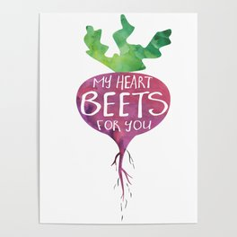 My heart BEETS for you - funny pun design Poster