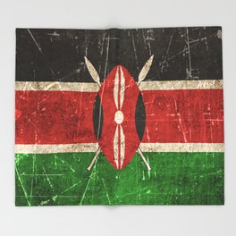 Vintage Aged and Scratched Kenyan Flag Throw Blanket
