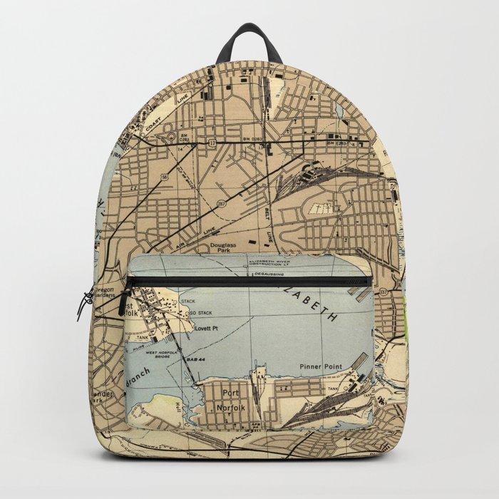Portsmith Virginia Map.Vintage Norfolk Portsmouth Virginia Map 1944 Backpack By