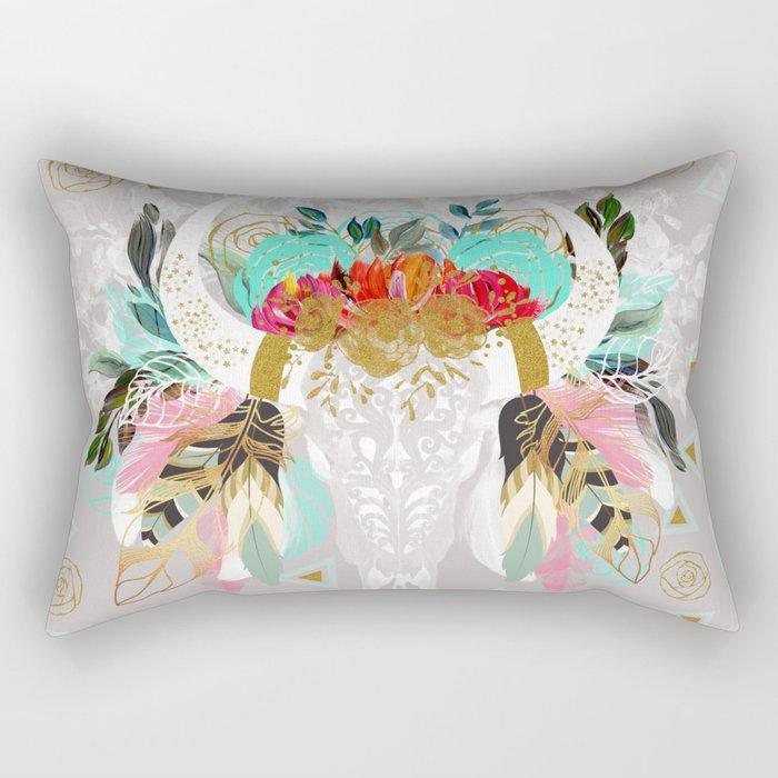 Fantasy boho skull Rectangular Pillow