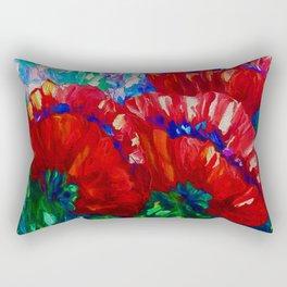 3 Poppies  Contemporary Wall Art  Rectangular Pillow