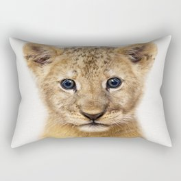 Baby Lion, Baby Animals Art Print By Synplus Rectangular Pillow