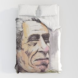 Charles Bukowski portrait in watercolor and ballpoint by McHank Comforters