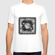 Saturn MEDIUM White Mens Fitted Tee