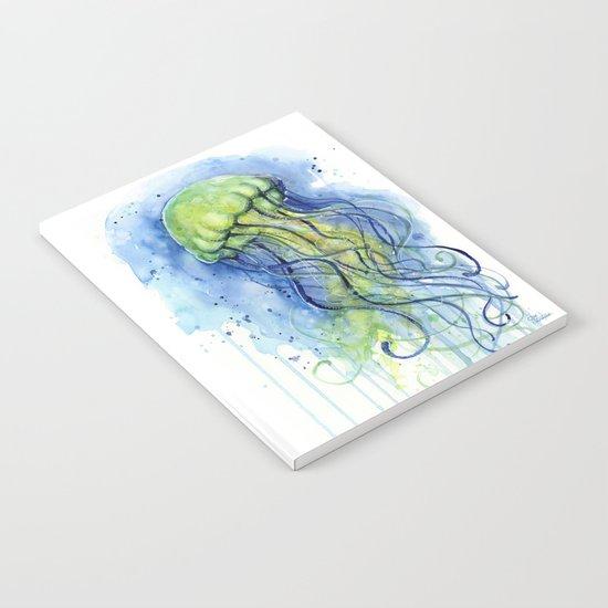 Jellyfish Watercolor Beautiful Sea Creatures Notebook