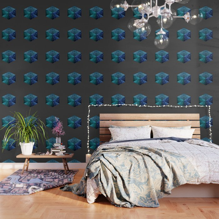 Aqua Blue Sparkles Diamond Geometric Hexagon Wallpaper By Pldesign
