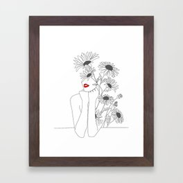 Minimal Line Art Girl with Sunflowers Framed Art Print
