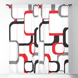 Red Black Gray Retro Square Pattern White Blackout Curtain
