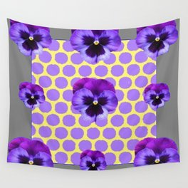 PURPLE SPRING PANSIES  LILAC POLKA DOT  PATTERN Wall Tapestry