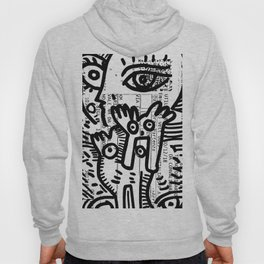 Creatures Graffiti Black and White on French Train Ticket Hoody