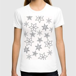 Grey Snowflakes On White Background T-shirt