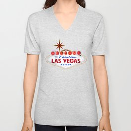 Welcome to Fabulous Las Vegas vintage sign neon on dark background  Unisex V-Neck