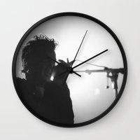 matty healy Wall Clocks featuring Matt Healy #2 by Andras Wobe Kocsis