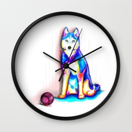 Husky with Paint Wall Clock
