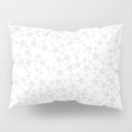 Block Print Silver-Gray and White Stars Pattern Pillow Sham