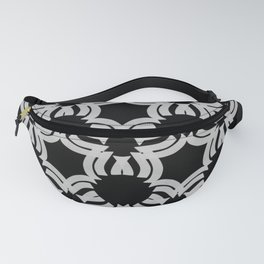 White abstract pattern on a sophisticated black background  Fanny Pack
