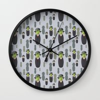 magritte Wall Clocks featuring Kokeshi Magritte pattern by Pendientera
