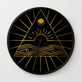 Sun Moon Sea - Gold Wall Clock