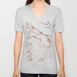 Modern chic faux rose gold white marble pattern Unisex V-Neck