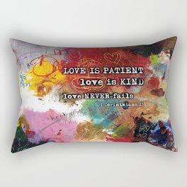 Love NEVER FAILS Scripture Bible Verse Abstract Art Painting by Michel Keck Rectangular Pillow