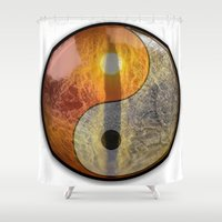 yin yang Shower Curtains featuring yin yang by Moonlight Creations