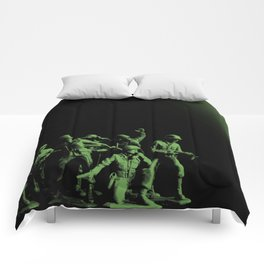 Plastic Army Man Battalion Black and Green Comforters