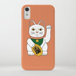 Maneki Neko - lucky cat - orange iPhone Case
