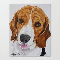 beagle Canvas Prints featuring Beagle by Megan Cohen