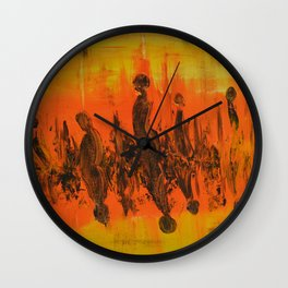 Abstract People Sunset Wall Clock