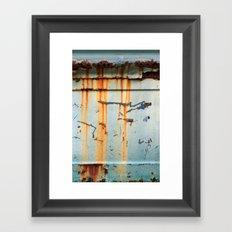 Rust Streaks on Aqua Framed Art Print