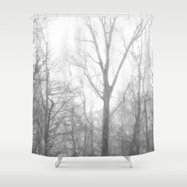 Black and White Forest Illustration Shower Curtain