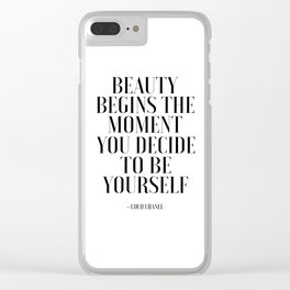 Girls Quote Beauty Begins Fashion Wall Art FASHIONISTA Poster Home Decor Quote Clear iPhone Case