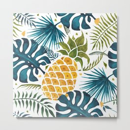 Golden pineapple on palm leaves foliage Metal Print