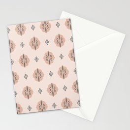 Boho Baby // Middle Eastern Metallic // Cypress Trees + Diamonds on Blush // Geometric Floral Stationery Cards