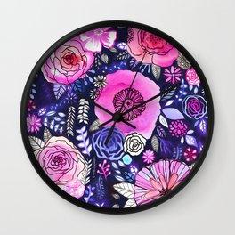 Ultraviolet Floral Mix Wall Clock