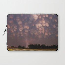 clouds heavy storm lightning bad weather road asphalt lamps Laptop Sleeve
