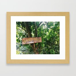 Blue River Sign in Tropical Rain Forest Framed Art Print