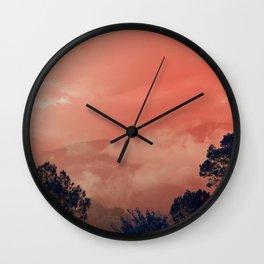 Himalayas Under a Pink Sky Wall Clock