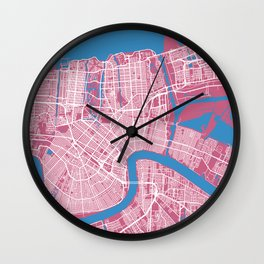 New Orleans Map Louisiana - US | Pink Colors Wall Clock