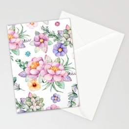 Pastel pink lavender green watercolor hand painted floral Stationery Cards