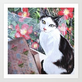 Something asian print cat looking out window have thought