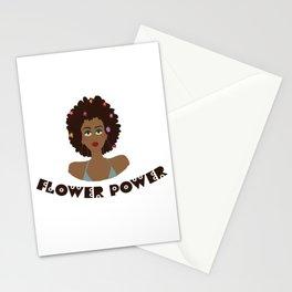 Digital illustration 70s style hippie girl flower power Stationery Cards