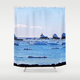 Snow Topped Boulders Shower Curtain