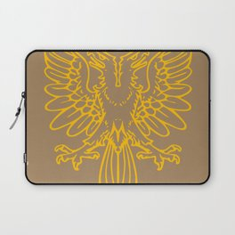 yellow double-headed eagle on brown background Laptop Sleeve