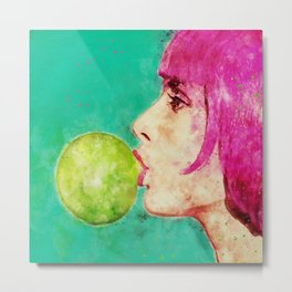 Bubble gum girl Metal Print